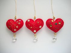 Felt Ornaments Heart Holiday Decoration by HandcraftedorVintage, $30.00