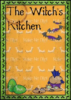 Witch's Kitchen Cook Book Cover  Printable Digital by MakeMeDigi, $2.50