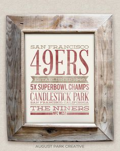SAN FRANCISCO 49ERS - 8x10- Rustic - Vintage Style - Typographic Art Print - Subway Style - Football on Etsy, $12.00