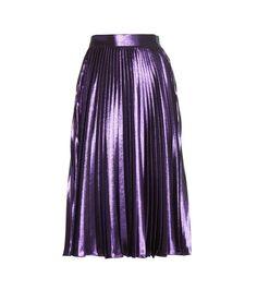 Purple metallic pleated silk-blend midi skirt