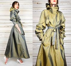 """vintage 80's REVERSIBLE iridescent HOODED DRAPED avant garde RAINCOAT trench"""