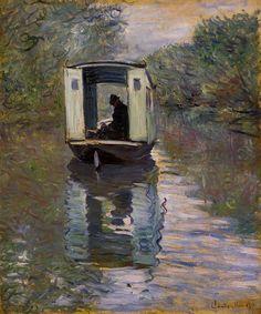 Le Bateau atelier (The Boat Studio) Claude Monet. Claude Monet is one of my favourite artists! Monet Paintings, Impressionist Paintings, Landscape Paintings, Artwork Paintings, Claude Monet, Artist Monet, Kunst Online, Art Online, Edgar Degas