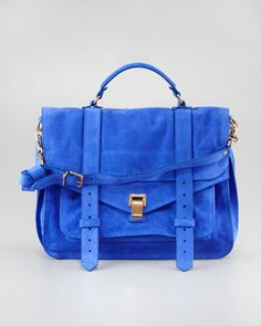 So want this bag! Better save my pennies! PS1 Suede Large Satchel Bag, Cobalt by Proenza Schouler at Bergdorf Goodman.