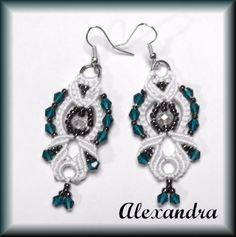 Earrings - Micro Macrame - Austrian crystal - by LX Micro Macrame, Austrian Crystal, Crochet Earrings, Drop Earrings, Crystals, Handmade, Jewelry, Jewellery Making, Jewelery