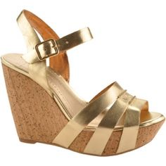 SALE - Womens Bcbgeneration Perrin Wedge Heels Gold Leather - Was $90.00 - SAVE $35.00. BUY Now - ONLY $55.00.