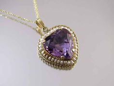 Antique Edwardian 14k heart shaped amethyst seed pearl pendant necklace