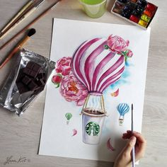 Flower art painting draw artworks 67 New ideas Watercolor Sketch, Watercolor Flowers, Watercolor Paintings, Drawing Flowers, Drawing Artist, Sketch Drawing, Milk Shakes, Art Journal Inspiration, Cute Drawings