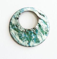 Enameled copper donut pendant jewelry making by KilnFiredArt, £10.00