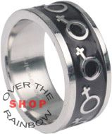 MP Gay Lesbian Stainless Steel Dome Rainbow Pride Marriage Band Ring for Wedding Promise
