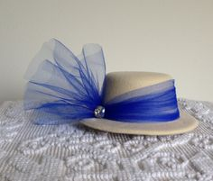 Royal Tea Hats -  mini, handmade fascinator top hat clips to hair - afternoon tea, Easter, Birthday party, Bridal shower, derby, High Tea