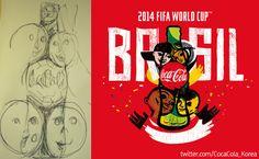 [Coke Code 351] 냅킨 위의 장난스런 스케치가 코카-콜라 월드컵 로고로! 남미 축구의 라이벌 브라질과 아르헨티나 아티스트들이 함께 만들어낸 로고, 함께 즐기는 모두의 월드컵을 그 무엇보다 잘 보여주고 있죠?