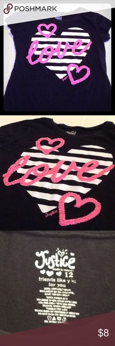 Short sleeve shirt Very cute t-shirt with 3-D writing.  Like new Justice Shirts & Tops Tees - Short Sleeve