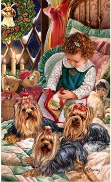 Yorkshire Terrier Christmas Holiday Cards are 8 x 5 and come in packages of 12 cards. One design per package. All designs include envelopes, your personal message, and choice of greeting. 3d Christmas, Christmas Animals, Vintage Christmas Cards, Christmas Pictures, Holiday Cards, Chien Yorkshire Terrier, Yorkshire Terrier Haircut, Silky Terrier, Terrier Mix