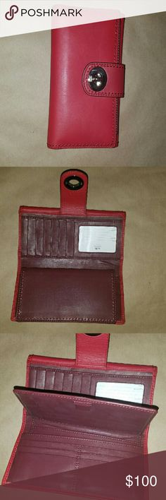 NWT Red Coach Wallet Genuine leather Red Coach Wallet Lots of pockets and card slots   Red leather with burgundy interior Coach Bags Wallets