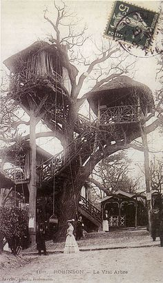 In the mid–nineteenth century, Le Plessis, just outside Paris, became famous for its tree house restaurants.