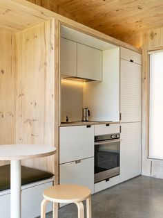 """Yardstix delivers modern, compact """"backyard architecture"""" made from cross-laminated timber Studio 20 M2, Fold Up Beds, Stool Makeover, Tiny Houses For Rent, Timber Panelling, Tiny House Movement, Built In Storage, Maine House, Storage Spaces"""
