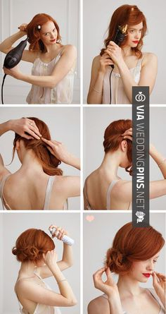 Vintage Hairstyles Tutorial The 'Side Chignon' Tutorial Trendy Hairstyles, Wedding Hairstyles, Side Bun Hairstyles, Bridal Hairstyle, Great Gatsby Hairstyles, Chignon Hairstyle, Short Vintage Hairstyles, Red Hair Updo, Flapper Hairstyles