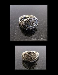 Sterling silver wire swirl ring. Beads - Beads By Alison