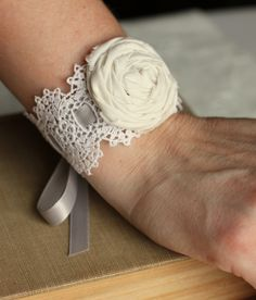 If I were going to have a wedding I would rock this! Vintage Lace Bracelet- Bridal Bracelet, Something Old,  Bridesmaid Bracelet, Prom Wrist Corsage, Lace Cuff. $25.00, via Etsy.