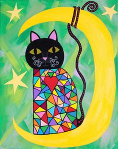 Kerri Ambrosino Original Mexican Folk Art Acrylic Painting Rainbow Black Cat Moon Stars Heart Symetrical
