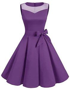 DRESSTELLS Women Classic Rockabilly Illusion Dress Retro See Through Cocktail Dress Purple XL