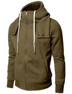 Save $17.13 on Doublju Mens Casual Long Sleeve Simple Napping Zip up Hoddies; only $40.00