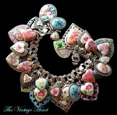 charm bracelet made of vintage hearts! this is too adorable<3