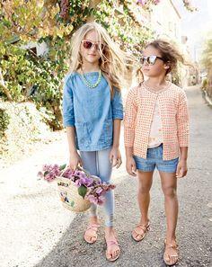 J.Crew girls chambray pocket tunic top, everyday leggings, glitter sunnies sunglasses, cross-strap flat sandals, Caroline cardigan sweater in polka dot, and chambray pull-on short.