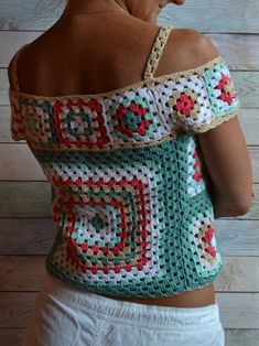 CROCHET Blouse off shoulder Top Granny square Multicolor Crochet Boho Lace TOP woman : Crochet Summer Lace Top Ethic style Blouse Multicolor Crochet Motif Cotton Top open shoulders One of Mode Crochet, Crochet Motif, Crochet Lace, Crochet Patterns, Cotton Crochet, Vintage Crochet, Crochet Style, Black Crochet Dress, Crochet Blouse