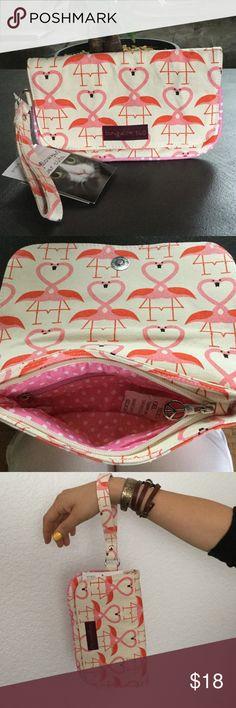 Bungalow 360 über cüte wristlet Super cute canvas with pink flamingos wristlet. Bungalow 360 Bags Clutches & Wristlets