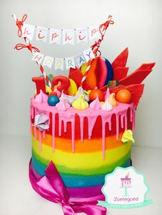 Rainbow drip cake Made by Zoetegoed.com