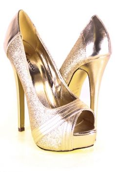 GOLD GLITTER FAUX LEATHER ACCENT PEEP TOE HEELS