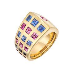 "Estate Chanel Blue & Pink Sapphire ""Byzantine"" Band Ring"