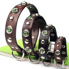 Custom Chocolate Brown Leather Dog Collar with Mint Green Gems, Silver Dots and Quick Release Buckle // Eco-Friendly Recycled Belt // OOAK