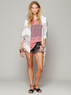 Free People Stripe Poncho