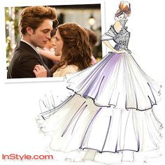 Fashion Designers Sketch Bella's Wedding Dress | InStyle.com