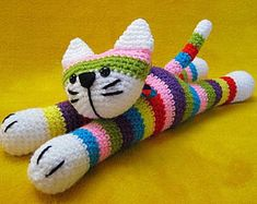 Ravelry: Moe The Stripey Cat Amigurumi Animal pattern by Millionbells Crochet Hook Sizes, Crochet Yarn, Crochet Toys, Knooking, Bobble Stitch, Amigurumi Toys, Crochet Animals, Cat Toys, Single Crochet