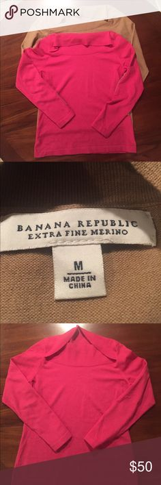 TWO Banana Republic Extra Fine Merino Wool TWO Banana Republic Extra Fine Merino Wool Sweaters. Beautiful light weight sweater bundle. One pink and one khaki or tan. The pink sweater is in excellent used condition. The tag was removed because it bothered me the only time I remember wearing this sweater. The Khaki or tan colored sweater is new without tags as I've never worn it. They have a beautiful unique neckline that is very feminine. Armpit to armpit they're 18 1/2 inches and 24 inches…