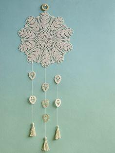 Large Beige Dream Catcher Floral Crochet Doily Dream Catcher Crochet Wall Decor Rustic Style Home Decor Boho Wedding Decor Housewarming Gift