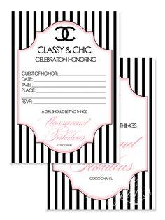 Coco Chanel Digital Invitation Sweet 16 Coco Chanel Pinterest