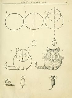 How to draw cat and mouse from: Drawing made easy: a helpful book for young artists; the way to begin and finish your sketches, clearly shown step by step; Lutz, Edwin George, b. Book Drawing, Drawing Lessons, Cat Drawing, Drawing Techniques, Drawing For Kids, Animal Drawings, Easy Drawings, Art Tutorials, Art Sketches