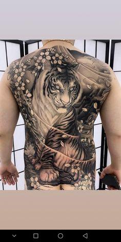 Tiger Tattoo Back, Tiger Tattoo Design, Tattoo Designs, Japanese Tiger Tattoo, Japanese Dragon Tattoos, Dragon Tattoo Back Piece, Dragon Sleeve Tattoos, Back Tattoos For Guys, Full Back Tattoos