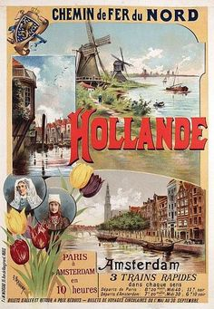 chemins de fer du nord - Hollande - illustration de Gustave Fraipont - France -