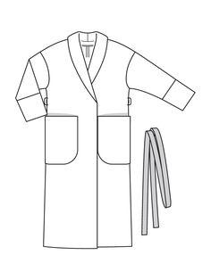 Пальто с шалевым воротником - выкройка № 115 из журнала 12/2016 Burda – выкройки пальто на Burdastyle.ru