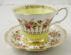 Royal Albert Yellow Tea Cup and Saucer Green Park Series, Vintage Bone China