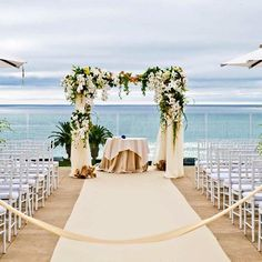 The perfect view to say I do 💙 #LAubergeDelMarWeddings #WeddingWednesday