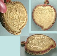 Antique Carved Bone Canton Pin Cushion / Disc * Chinese / English * Circa 1830