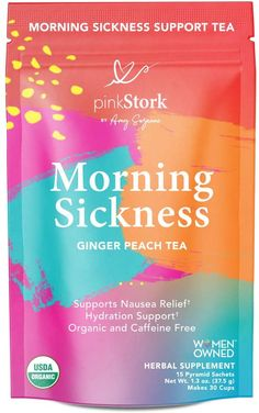 Pink Stork Morning Sickness Relief Tea: Ginger-Peach + USDA Organic + Relieves Nausea + Supports Digestion & Hydration, Women-Owned, 30 Cups Help With Morning Sickness, Morning Sickness Relief, Morning Sickness During Pregnancy, Feeling Nauseous, Feeling Sick, Natural Morning Sickness Remedies, How To Relieve Nausea, Nausea Relief, Caffeine Free Tea
