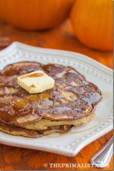 Pumpkin Spice Pancakes (Gluten-free, Paleo): Forget pumpkin spice lattes, pumpkin spice pancakes are where it's at! :) Super easy to make, and require only two ingredients other than vanilla and spices.