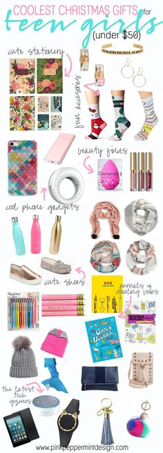 These are the cutest and coolest Christmas gift ideas for teens and tween girls and they are all under $50! They make great stocking stuffers too! #christmas #giftguide #giftguideforteens #teen #tween #giftideas #giftideasforher #christmasgifts #christmasgiftideas